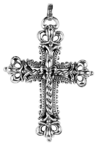 CORONATION CROSS PENDANT w/ CROWNS & FLEUR DE LIS