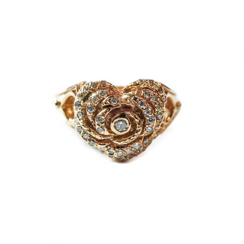 SMALL HEART ROSE RING w/ PAVÉ DIAMONDS