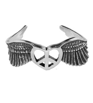 WINGED PEACE & HEART CUFF