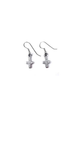 CROSS EARRINGS w/ ALL DIAMONDS