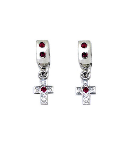 SMALL ROUND EARRINGS w/ CROSS w/ RUBIES OR SAPPHIRES & DIAMONDS