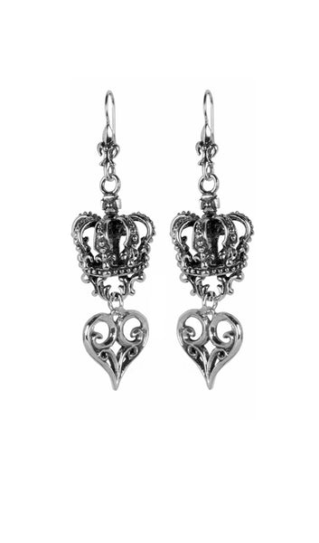 CORONATION CROWN EARRINGS w/ ALLEGRA HEART