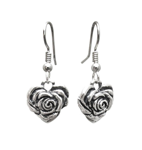 SMALL HEART ROSE EARRINGS w/ HOOK