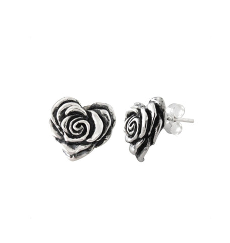 SMALL HEART ROSE EARRINGS w/ STUD