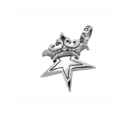 SMALL SOLID STAR w/ CROWN PENDANT w/ CZ