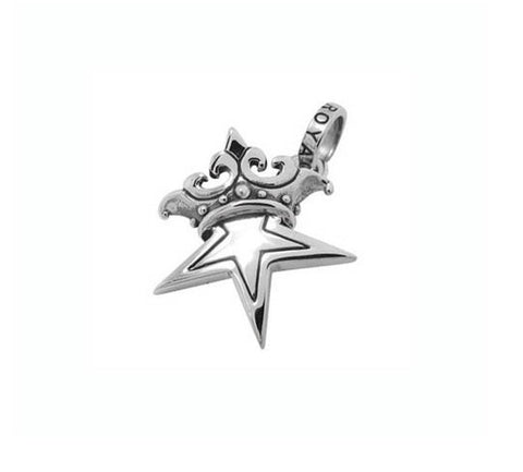 SMALL SOLID STAR w/ CROWN PENDANT