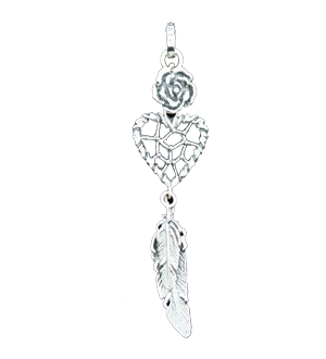 NAVAJO HEART DREAM CATCHER PENDANT w/ ROSE & FEATHERS 5, 6
