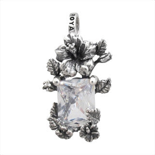 HIBISCUS FRAME PENDANT w/ RECTANGLE CZ