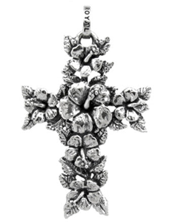 LARGE HIBISCUS CROSS PENDANT
