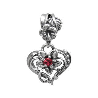 PLUMERIA HEART PENDANT w/ CENTER CZ