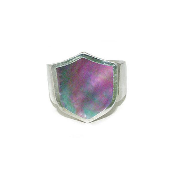 SHIELD RING w/ MOTHER OF PEARL