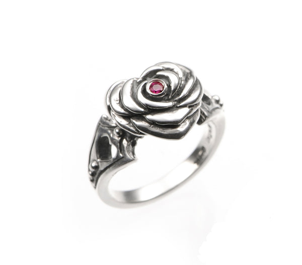 SMALL HEART ROSE RING w/ CZ
