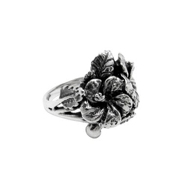 KONA DOUBLE HIBISCUS & LEAVES RING