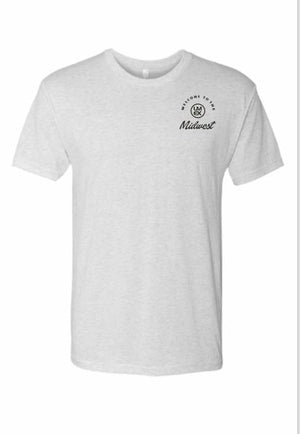 "Mens ""Welcome To the Midwest"" T-Shirt White Black Logo"