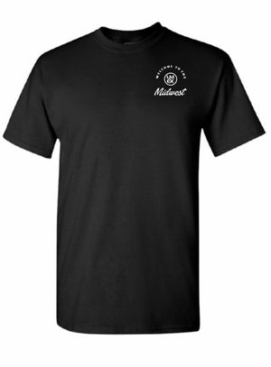 "Mens ""Welcome To the Midwest"" T-Shirt Black White Logo"