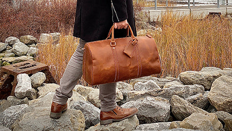 Handmade Leather Duffel Bag in Brooklyn