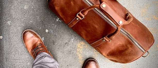 Handmade Leather Duffel Bag in Brown