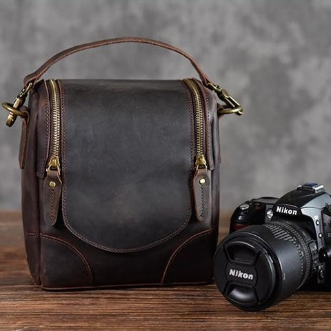 The Calista | Small Leather Camera Bag - Leather Camera Lens Case