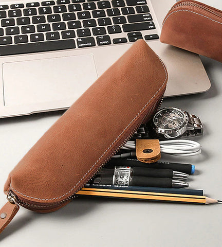 The Paavo Leather Pen Case | Leather Makeup Pouch