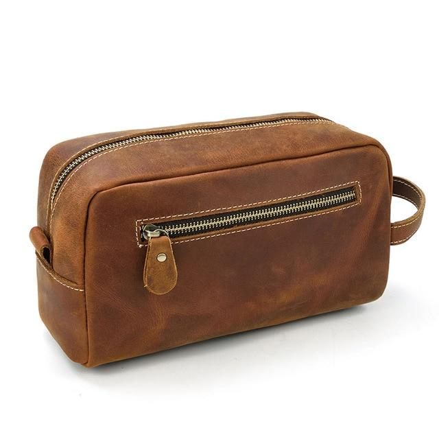 The Wanderer Toiletry Bag | Genuine Leather Toiletry Bag - STEEL HORSE LEATHER, Handmade, Genuine Vintage Leather