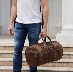The Wainwright Weekender | Round  Vintage Leather Weekender - STEEL HORSE LEATHER, Handmade, Genuine Vintage Leather