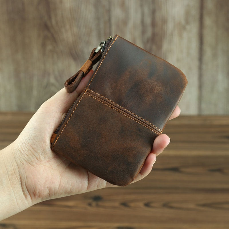 The Cael | Handmade Leather Coin Purse with Zipper