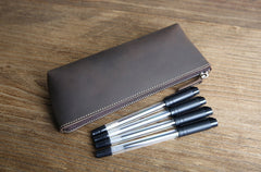 The Pallavi | Handmade Leather Pencil Case - Leather Makeup Bag