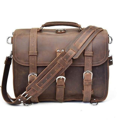 The Gustav Messenger Bag | Large Capacity Vintage Leather Messenger Bag - STEEL HORSE LEATHER, Handmade, Genuine Vintage Leather