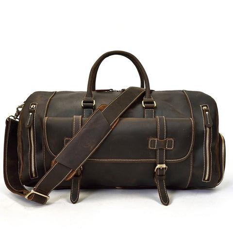 The Bard Weekender | Handmade Leather Duffle Bag - STEEL HORSE LEATHER, Handmade, Genuine Vintage Leather