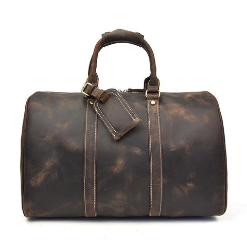 The Brandt Weekender | Small Leather Duffle Bag - STEEL HORSE LEATHER, Handmade, Genuine Vintage Leather
