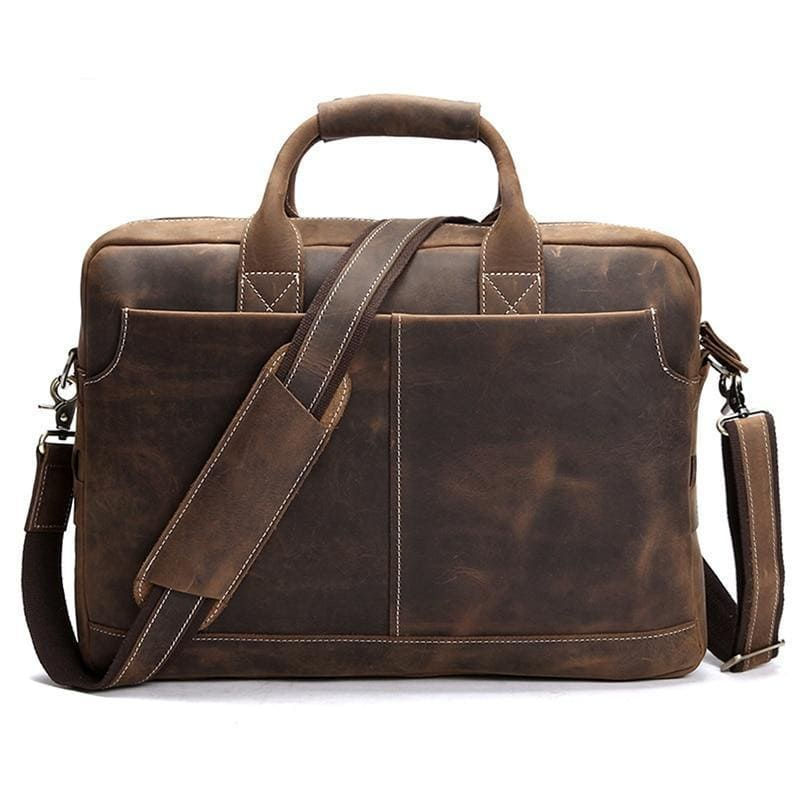 The Welch Briefcase | Vintage Leather Messenger Bag - STEEL HORSE LEATHER, Handmade, Genuine Vintage Leather