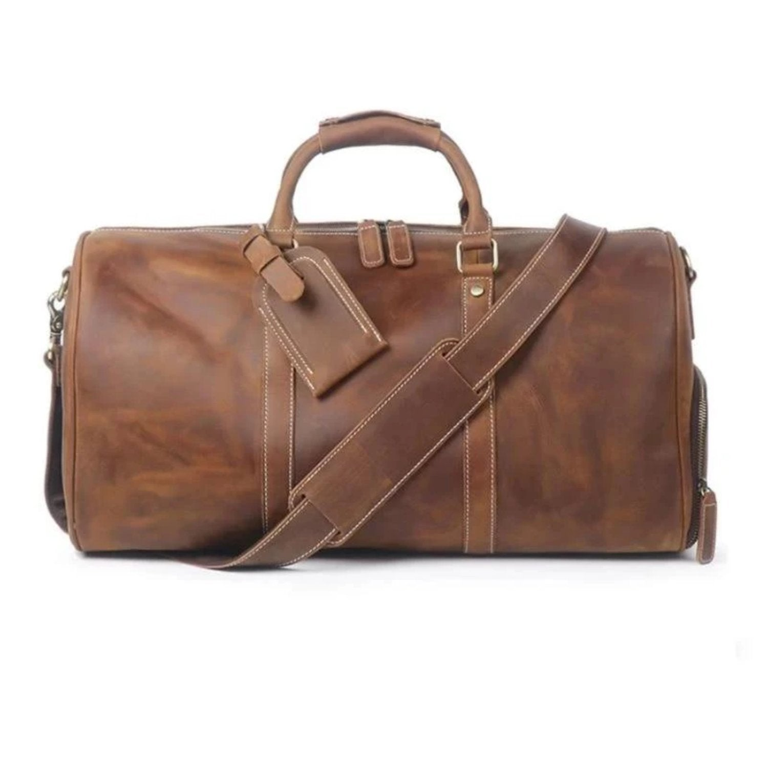 The Dagny Weekender | Large Leather Duffle Bag - STEEL HORSE LEATHER, Handmade, Genuine Vintage Leather