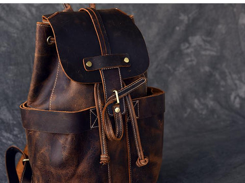 The Olaf Rucksack | Vintage Leather Travel Backpack - STEEL HORSE LEATHER, Handmade, Genuine Vintage Leather