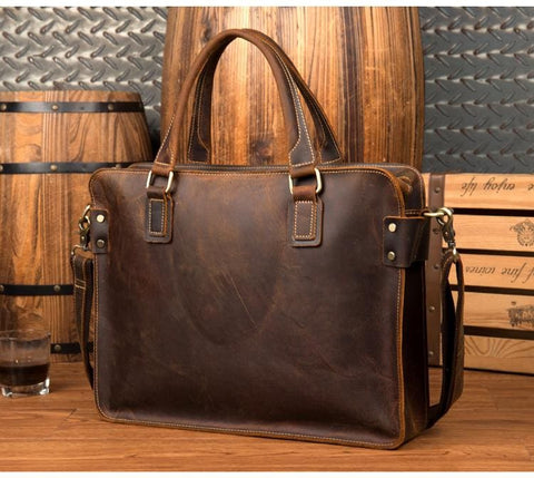 The Viggo Briefcase | Genuine Leather Messenger Bag - STEEL HORSE LEATHER, Handmade, Genuine Vintage Leather
