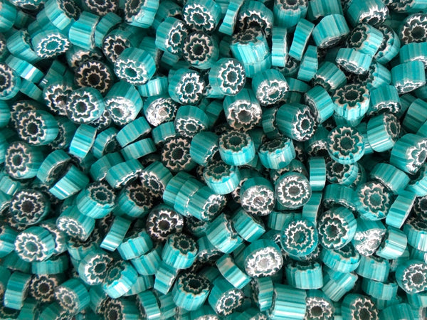 T59 Aqua/White Flower 10-12mm