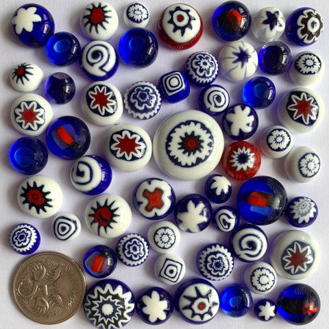 Red/Cobalt/White Cabochon Mix