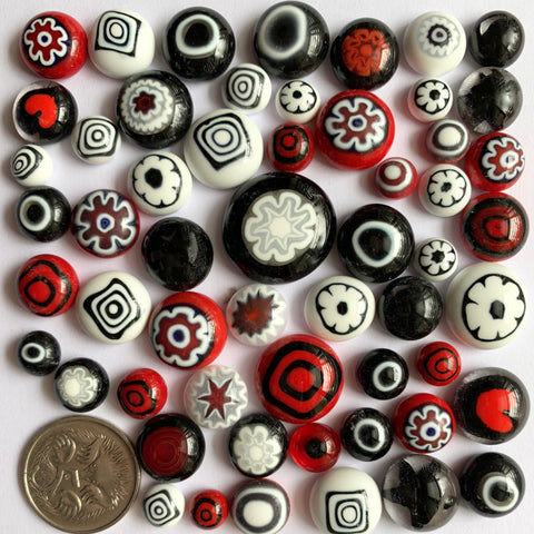 Red/Black/White Cabochon Mix