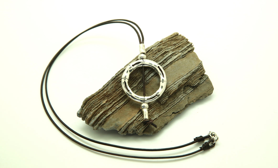 Long Silver Ring Necklace