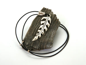 Leather and Silver Cut Leaf Necklace