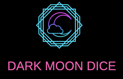Dark moon dice logo, with a moon and cloud inside a series of geometric shapes