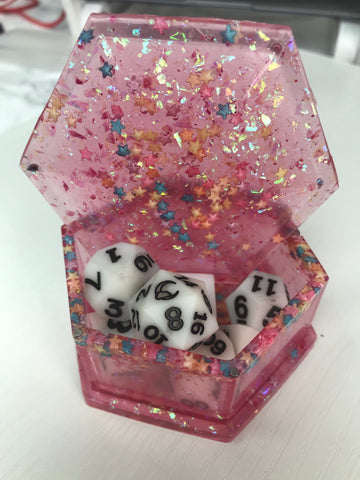 Pink Candy Hexagon Dice Box