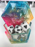 Magnet Free Rainbow Bright Hexagon Dice Box