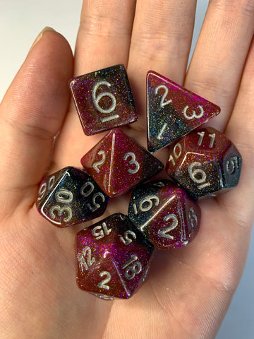 Pink Galaxy Dice Set