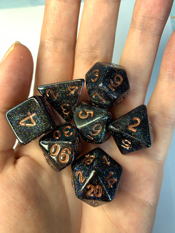 Dancing Lights (Black) Dice Set