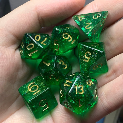 Dancing Lights (Emerald) Dice Set