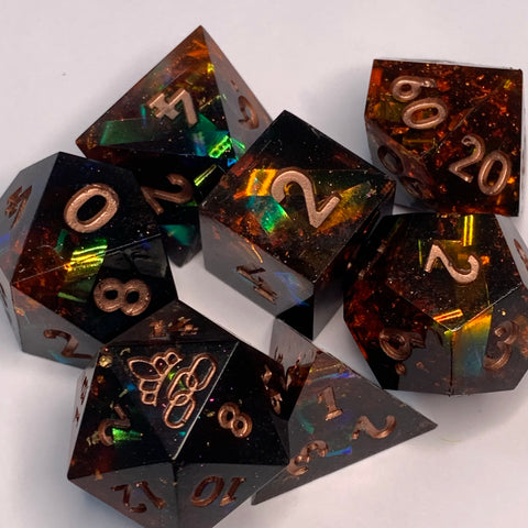 Hel Dice Set with Darkness and Dragons Logo