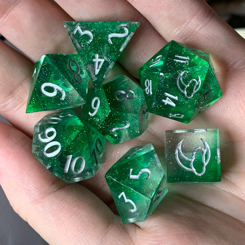 Dancing Lights (Peridot- Sharp Edges) Dice Set