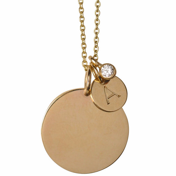 Large & Small Initial Disc with Diamond Necklace