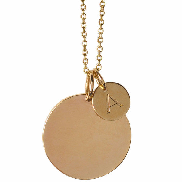 Large & Small Initial Disc Necklace