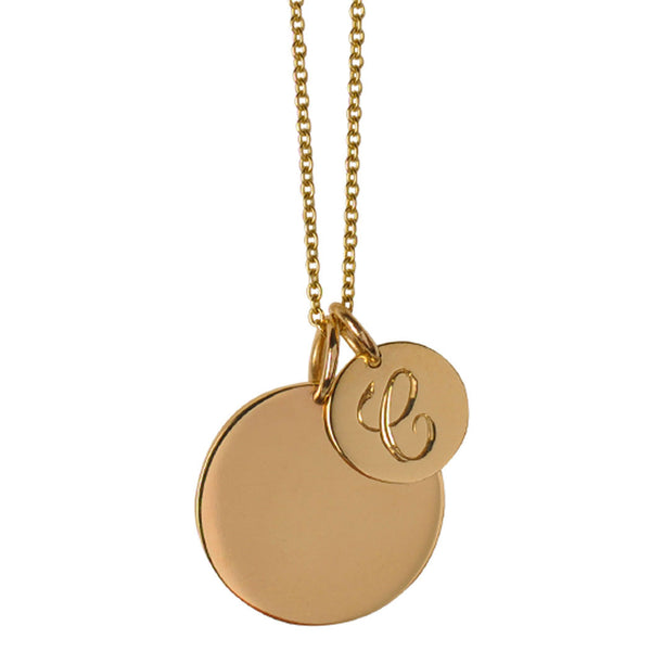 Large & Medium Initial Disc Necklace